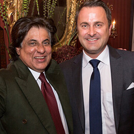 Philanthropist Tej Kohli and the Prime Minister of Luxembourg, Xavier Bettel.