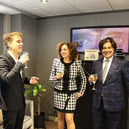 Tej Kohli with his wife Wendy Kohli and Fabien Devide, the Chairman of Team Vitality.
