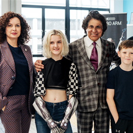 Wendy Kohli, Tilly Lockey wearing Open Bionics arms, Tej Kohli, future Hero Arm recipient Jacob Pickering and future Hero Arm recipient Harrison Gribble